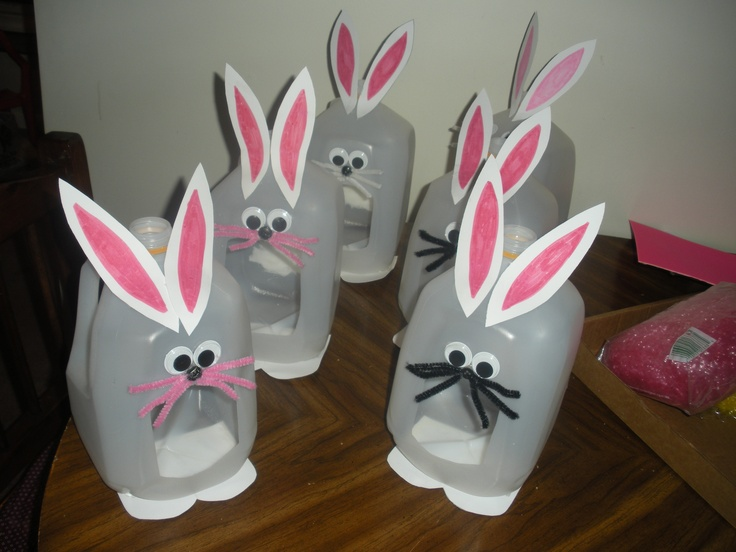 132 best holiday classroom projects from the triplets twins milk jug easter bunny baskets for easter negle Gallery