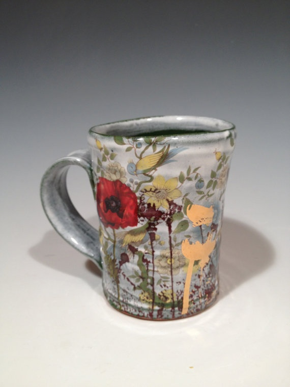 Justin rothshank cup with layered green glaze poppies and gold decals
