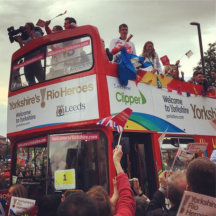 #Bus number 1 on the #RioHeroes #Olympic #Parade in #Leeds today containing #Rio2016 #medal #winners from #Yorkshire. This bus contained: the #Brownlee Brothers (Alistair and Jonny) who won #gold and #silver in the #triathlon; Vicky Holland who won #bronze in the triathlon and one other medal #winner who I can't identify (sorry!). #TeamGB #sport #culture #celebration #leisure #life #travel #tourism #tourist #olympics