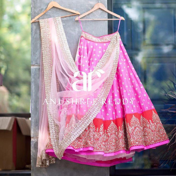 Anushree Reddy Bubblegum Pink #Lehenga With Red Embroidered Border & Light Pink Dupatta.