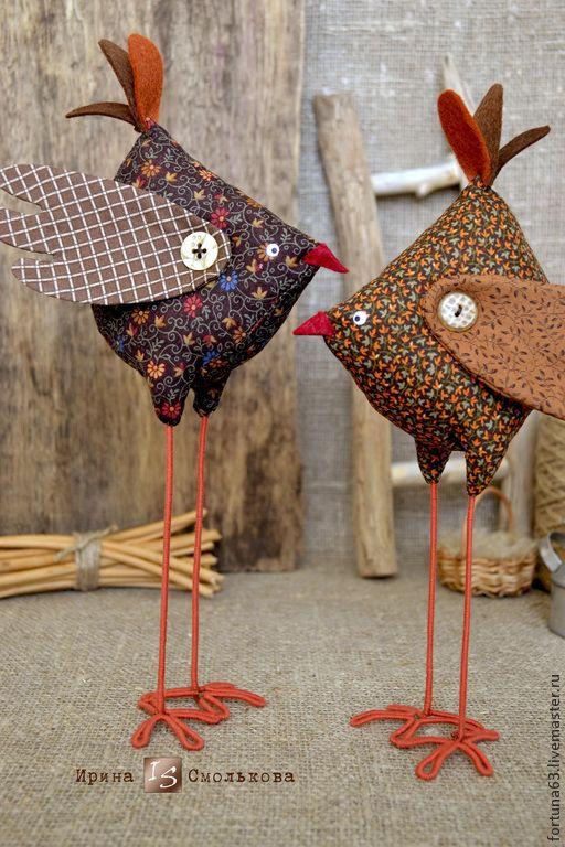 Купить Птички - коричневый, птица, птицы, текстильная игрушка, декор для интерьера, декор интерьера