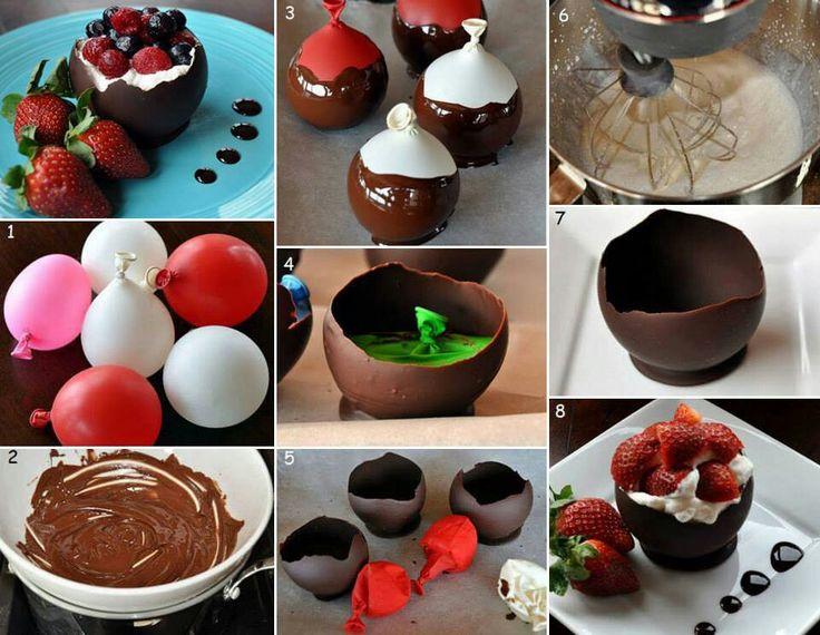 Globos de chocolate para contener postres deliciosos - Como hacer figuras con globos ...