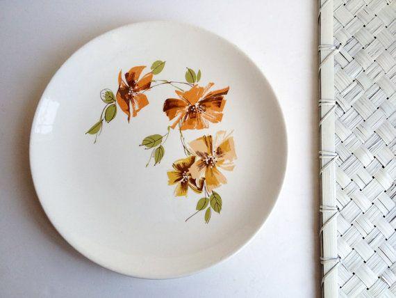 Dinnerware set, 4 MAYFAIR midcentury modern floral plates, Royal China ironstone dinnerware, retro orange brown green white dishes set 1950s...