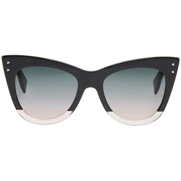 Fendi Black Two-Tone Cat-Eye Sunglasses (£260) ❤ liked on Polyvore featuring accessories, eyewear, sunglasses, glasses/sunglasses, black, two tone glasses, fendi, see through sunglasses, see through glasses and cat eye sunglasses