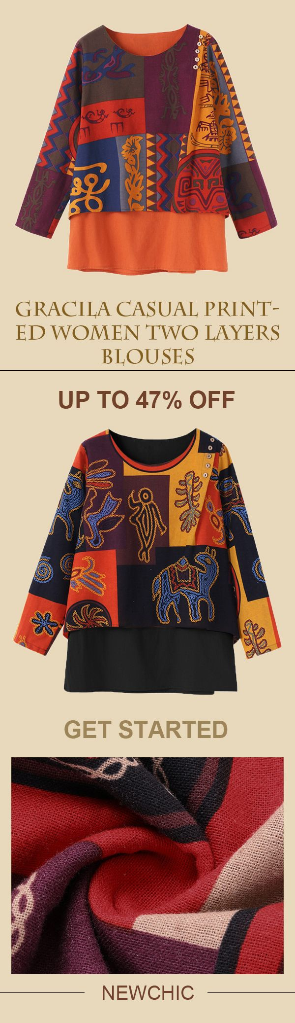 [Newchic Online Shopping] 47%OFF Gracila Women's Casual Printed Blouses with Double Layer