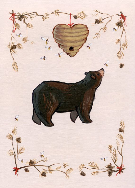 Woodland Blank Card and Envelope Bear and Bees by PoppyAndFox. https://www.etsy.com/listing/88094071/fresh-woods-vertical-print?utm_source=Pinterest&utm_medium=PageTools&utm_campaign=Share