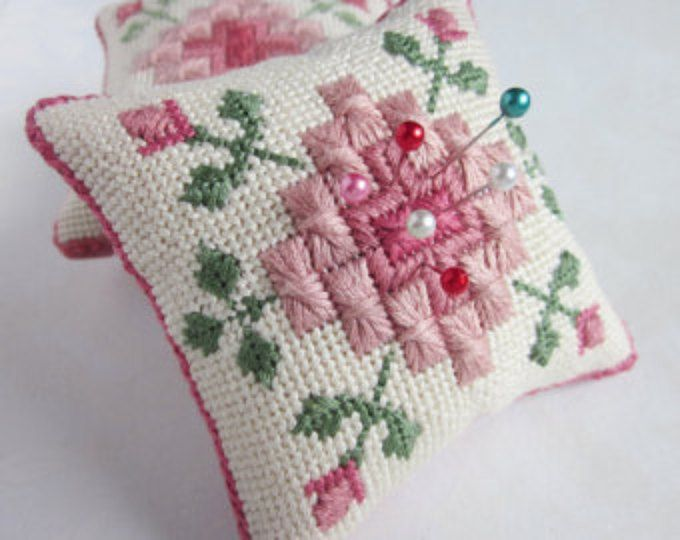 Rhodes Stitch and Roses Needlepoint Pincushion Embroidery Pattern, Instant digital download