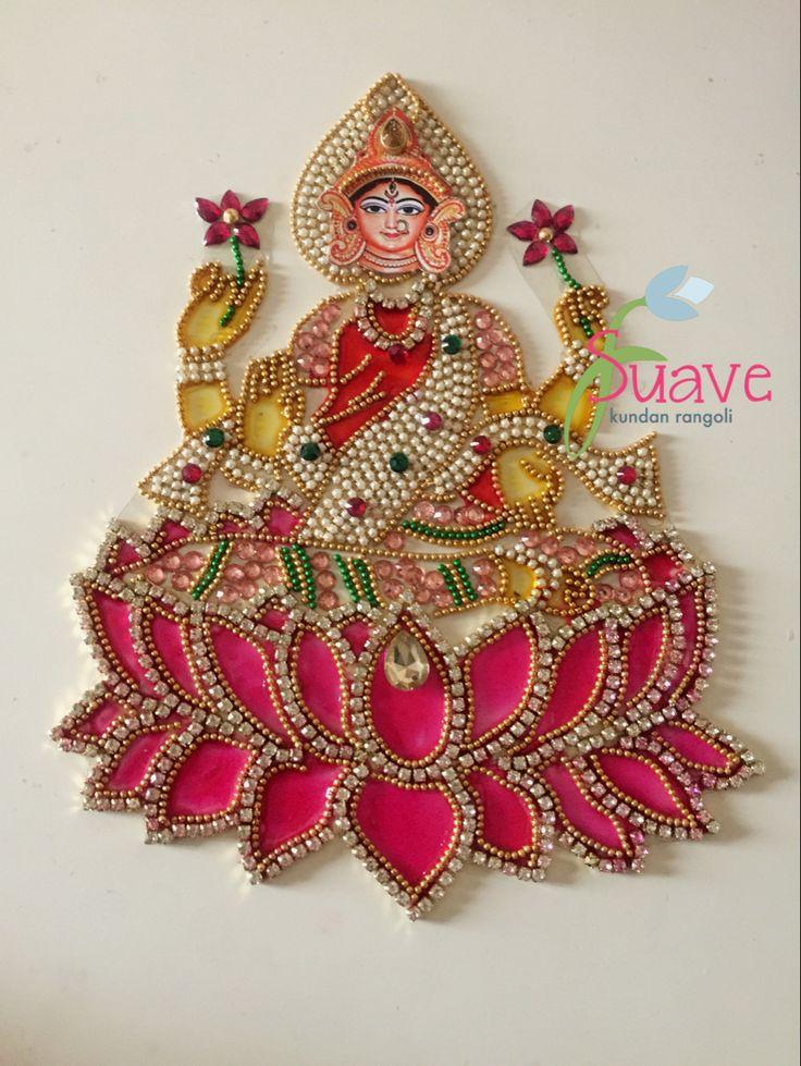 Suave Maa Lakshmi Kundan Art in 2020 Flower rangoli