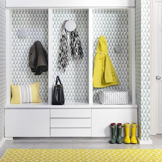 This fab hallway storage unit has been created using an Ikea TV unit and shelves
