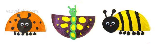 Ötököitä ja perhosia pahvilautasista