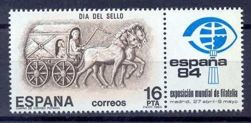 Sello Correos Cursus publicus. 'Correos' de España also issued a stamp representative of the first postal service in 1984 on the occasion of the World Philatelic Exhibition.