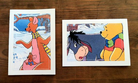 Winnie the Pooh  Greeting Cards set of 2  Cozy Beds book cutout by MagpieSailor