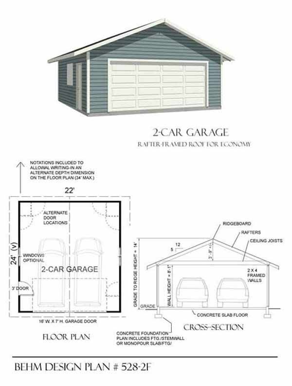 Two Car Garage With Rafter Framed Roof Plan 528-2F 22' x