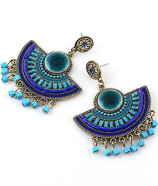 boucle d'oreille ornée de franges perles -bleu -French SheIn(Sheinside)