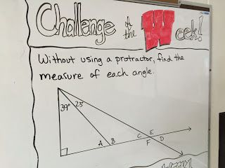 All about angles in 6th and 8th grade math! Students use vertical angles, supplementary angles, angles in triangles, and angles in quadrilaterals to find missing angles in these free Challenge of the Week problems and my new Angle Relationships Task Cards!