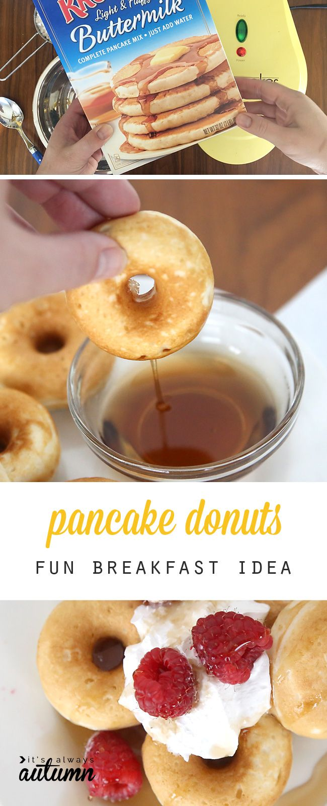 This is so fun - you can make donuts out of pancake mix! What a great breakfast idea for kids, and lots healthier than traditional donuts! easy breakfast recipe.