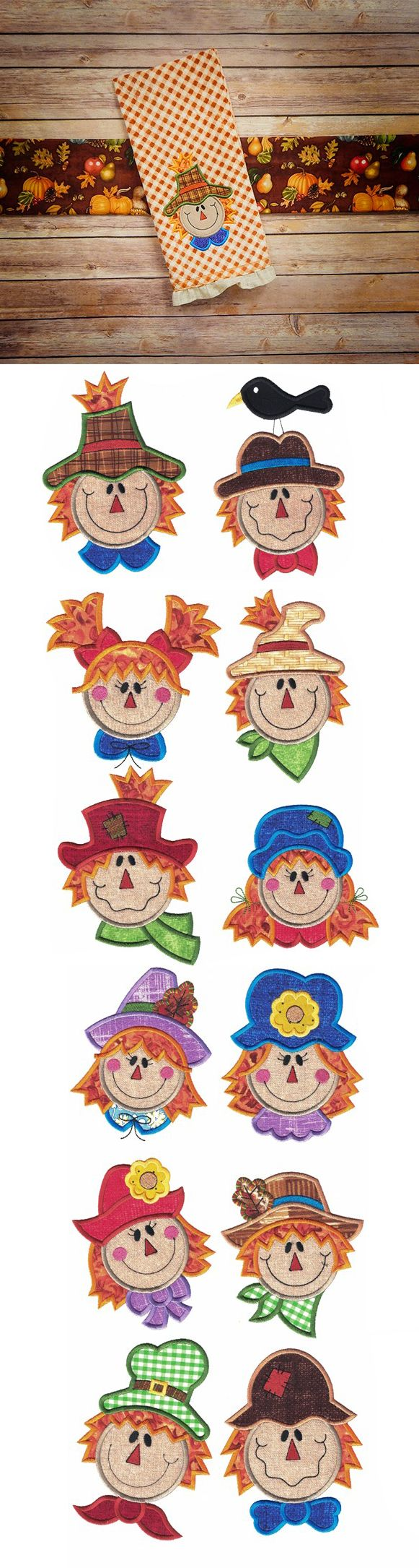 Whimsical Scarecrows Applique embroidery design set is available for instant download at designsbyjuju.com