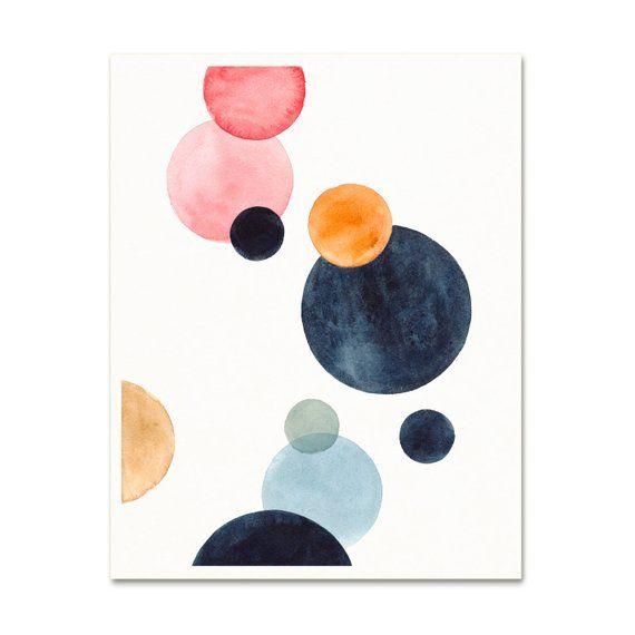 Minimalist Watercolor Circles Art Print Simple Modern Nursery