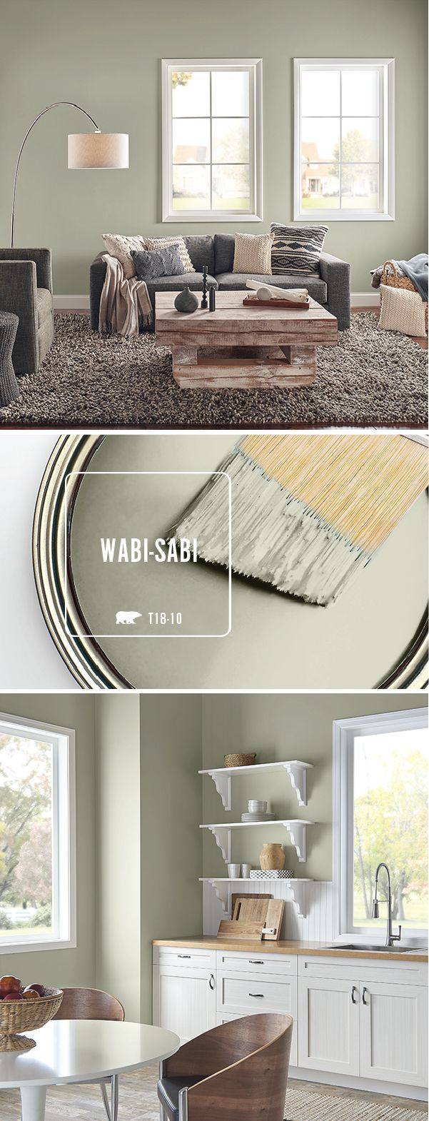 Use a fresh coat of behr paint in wabi sabi in every room of your home when paired with dark gray and natural wood accents this light green paint color