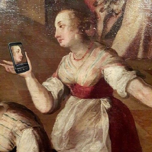 That's the way Lady from our #painting making her own #museumselfie.Isnt she lovely? #museum #museums #museumselfies #saintpetersburg ...