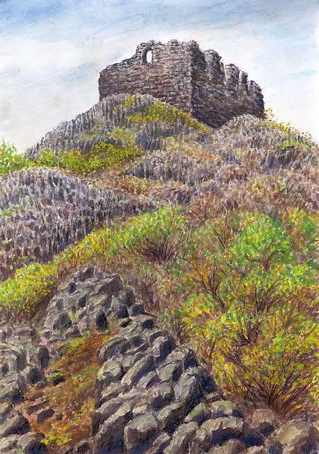 ČEDIČOVÝ VRCH KOŠT'ÁLOV Watercolor by Jana Haasová