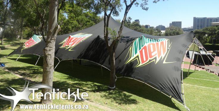 Mountain Dew branded tent on tour around Cape Town now