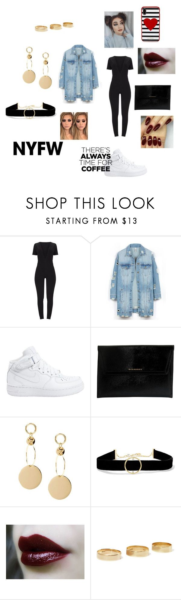 """""""NYFW (new york fashion week)"""" by dreimy ❤ liked on Polyvore featuring LE3NO, NIKE, Burberry, Anissa Kermiche, Loren Stewart and Kate Spade"""