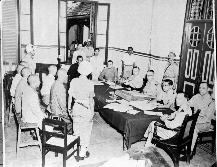 Japanese soldiers on trial.  Most of the Japanese military personnel and civilian colonial administrators were repatriated to Japan following the war, except for several hundred who were detained for investigations into war crimes, for which some were later put on trial.