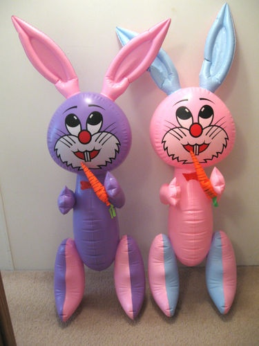 "2 Vintage Inflatable Squeak Easter Bunny Decorations 45"" Plastic Blow Up Rabbit:"