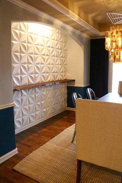 3 D Wall Panels And Live Edge Wood Shelf Wall Panelling