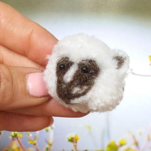 Opička Zamba, Monkey Zamba,Brooch cute pomp pomp animals, wool, light, nature, animal, natural, pet, white, cheerful, gentle, sweet, cute pom pom animals, miniature