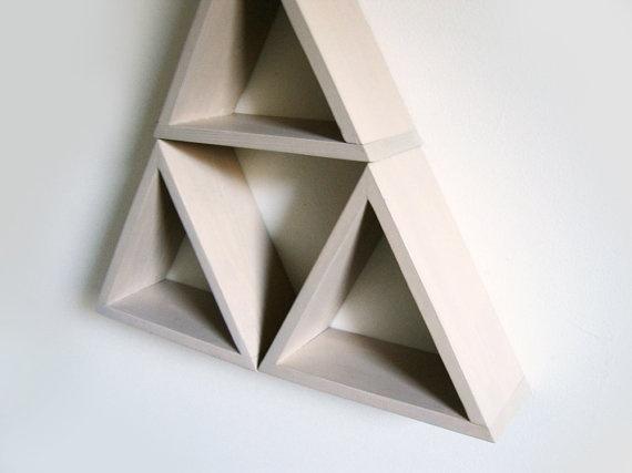 Triangle Shelves Pale Beige Wall Shelf Reclaimed Wood Shadow Box Geometric Modular shelves modern wall art Set of 3