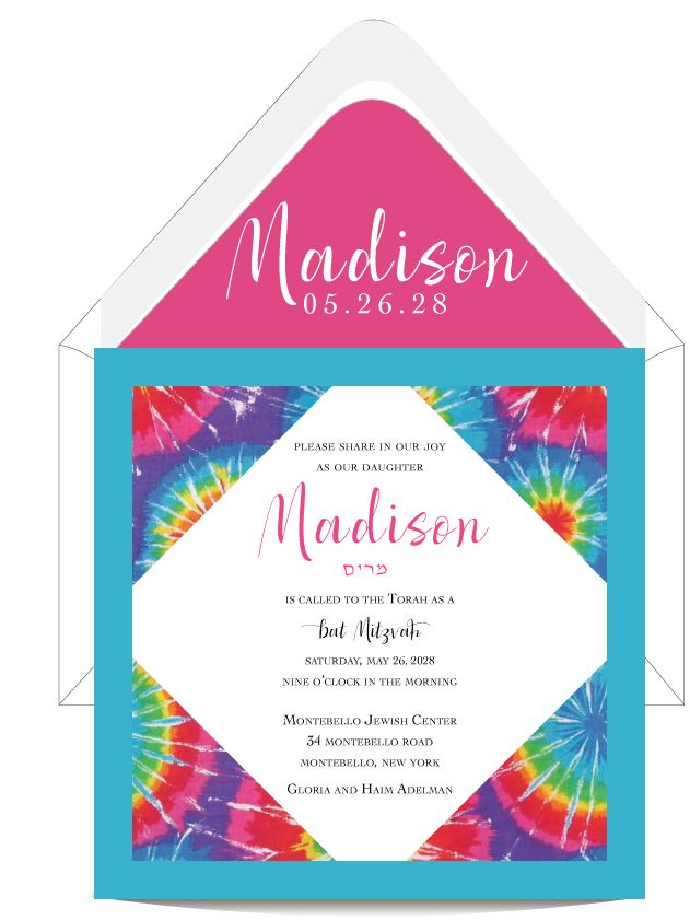 colorful tie dye layered bat mitzvah invitation unique and elegant