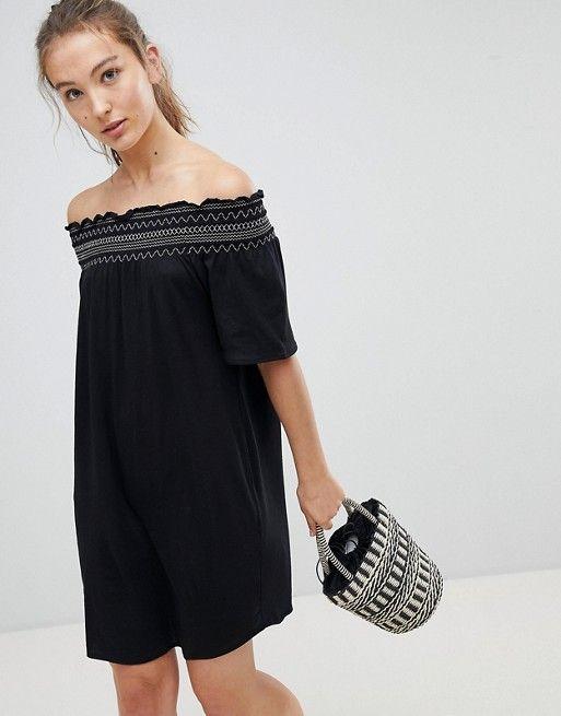 d6eea51d97 New Look Shirred Contrast Stitch Bardot Beach Dress   For Me   Dresses,  Fashion, Beach dresses online
