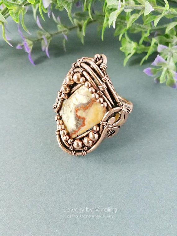 Wire wrapped jasper ring, Colorful statement ring big size 10, Wide ...