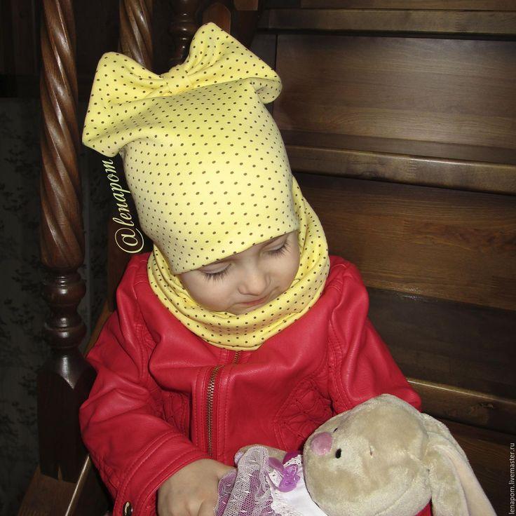 Купить Детская шапочка-бант и снуд - желтый, детская шапочка, детская шапка, шапочка для детей