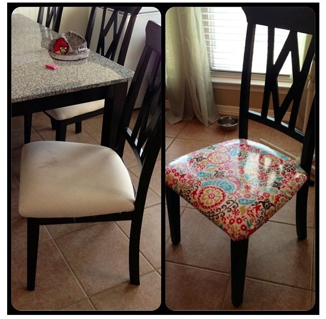 Dining Room Chair Redo With Laminated Fabric Bought From Hobby Lobby