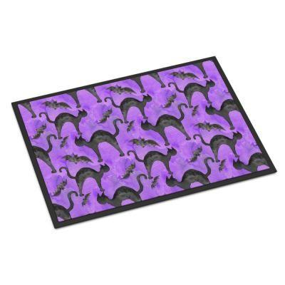 Caroline's Treasures 24 in. x 36 in. Indoor/Outdoor Watecolor Halloween Black Cats on Purple Door Mat, Multi-color