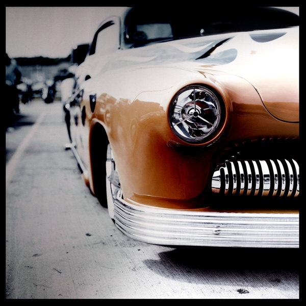 E Car >> 1950s hot rod | ... Classic Car Photography - flames headlight grille chrome hot rod 20x20 ...