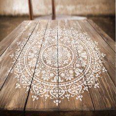 Mandala stencil design stenciled wood table mandalas