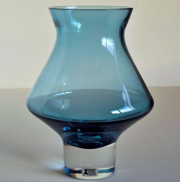 ÅSEDA Sweden Bo Borgström Blue GLASS VASE 6.6 inches