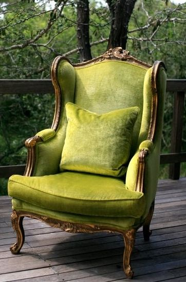love green chairs- this wingback is lovely                                                                                                                                                                                 More