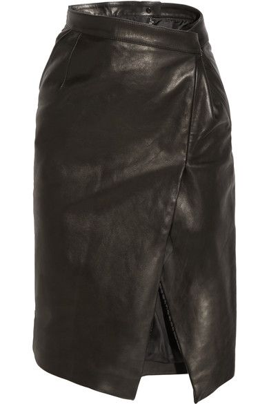 Vetements' versatile yet modern aesthetic has earned the Paris-based label a cult following. Part of the Fall '16 collection, this black leather pencil skirt is cut in a deconstructed wrap-effect silhouette, complete with a daring front split. Reference the runway styling with thigh-grazing boots or stockings.
