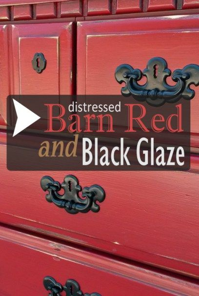 Dresser In Distressed Barn Red Adn Black Glaze   DIY Inspiration From  Facelift Furniture