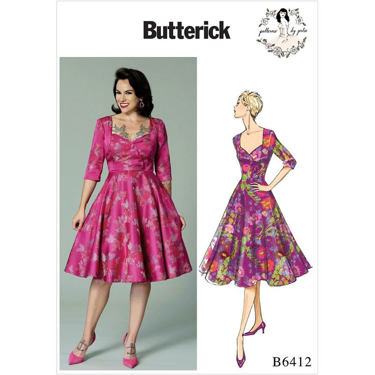 Misses Sweetheart-Neckline, Full-Skirted Dress Butterick Sewing Pattern 6412