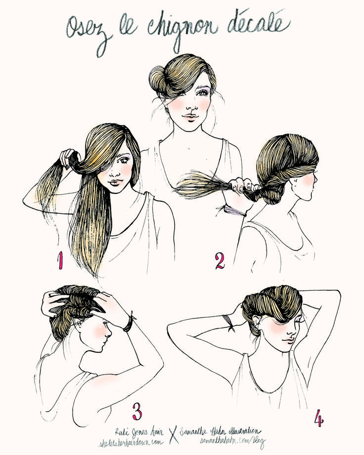 Rubi Jones X Samantha Hahn illustrative hair how-to's:: osez le chignon decale: Hair Down, Hair Tutorials, Chignons, Hair Styles, Illustration, Hairstyle, Samantha Hahn, Beauty