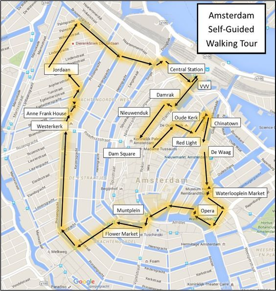 One Day in Amsterdam self guided walking tour map:                                                                                                                                                                                 More