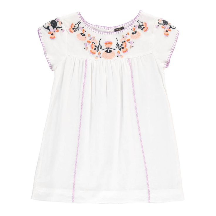 Velveteen Sofia Floral Embroidered Dress White