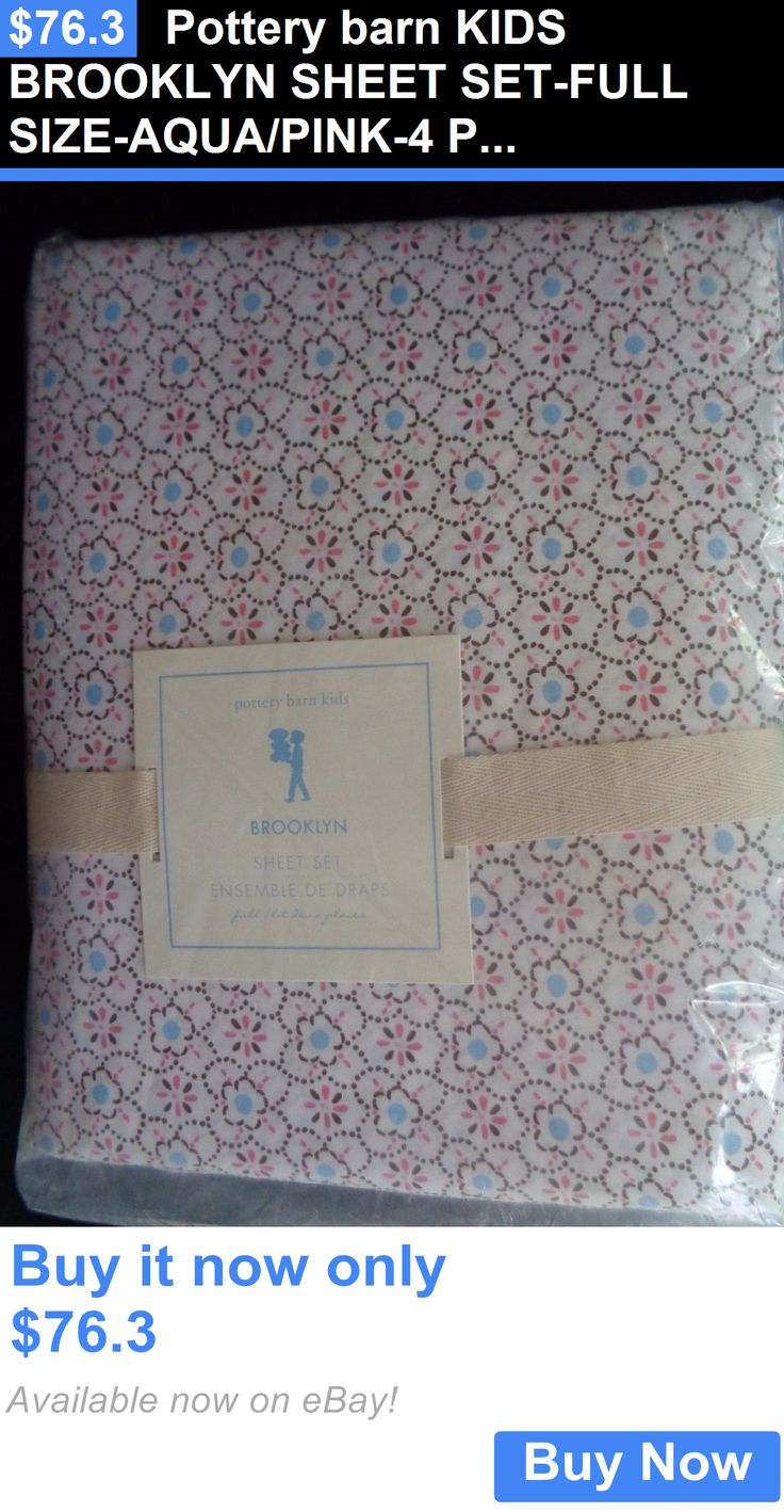 Kids Bedding: Pottery Barn Kids Brooklyn Sheet Set-Full Size-Aqua/Pink-4 Pieces-Nwt BUY IT NOW ONLY: $76.3