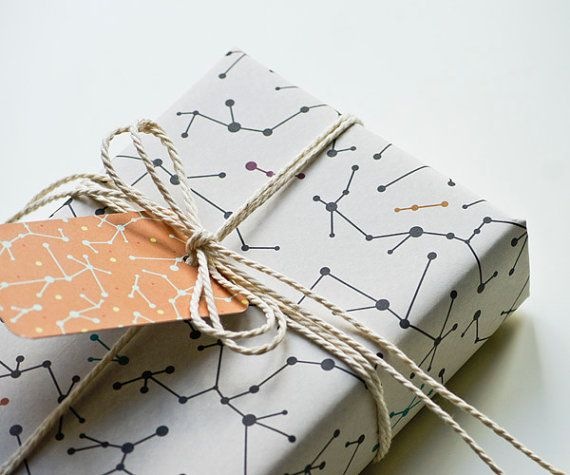 Ecofriendly Wrapping Paper White Molecules Set of 2 by MOZAIQ, €5.50.  (Ideas are coming to my mind with this for my wrapping paper project!)